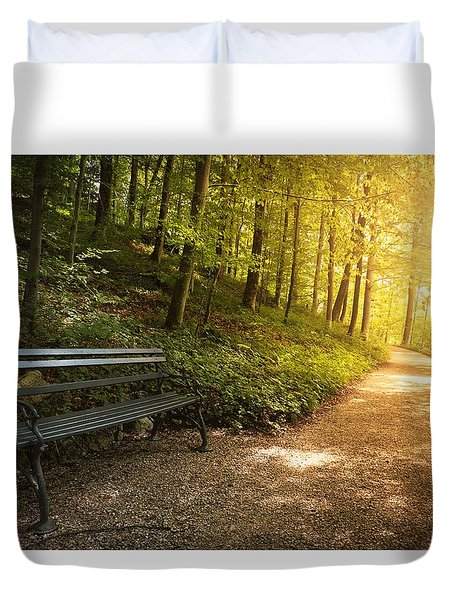 Duvet Cover featuring the photograph Park Bench In Fall by Chevy Fleet