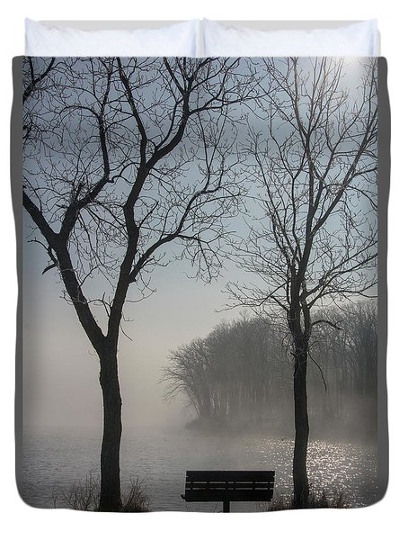 Park Bench In Morning Fog Duvet Cover
