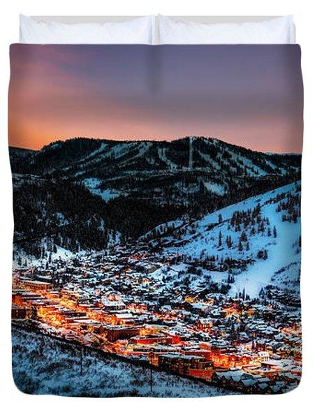 Park City Winter Sunset Duvet Cover