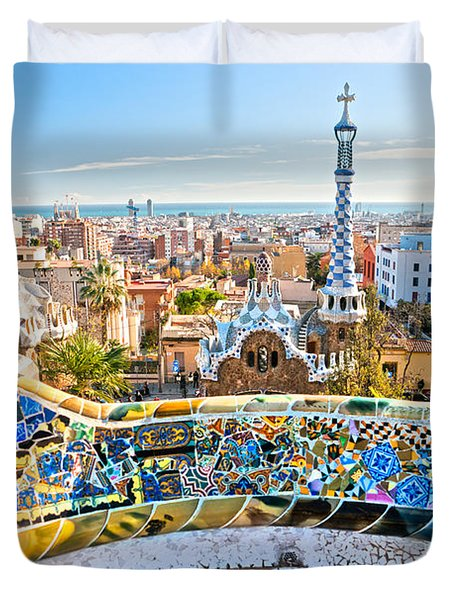 Duvet Cover featuring the photograph Park Guell Barcelona by Luciano Mortula