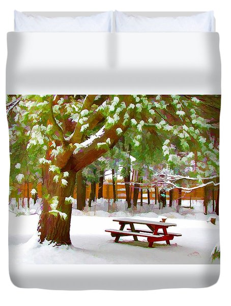 Park In Winter With Snow Duvet Cover by Lanjee Chee