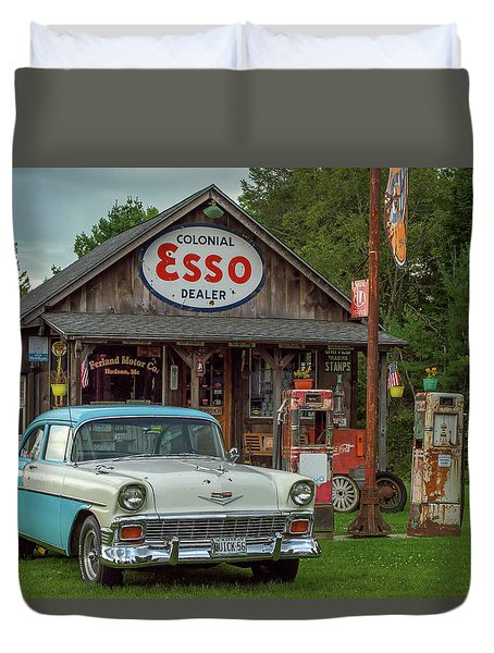Parked At Ferland Motor Company Duvet Cover