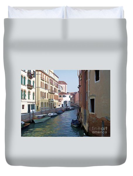 Duvet Cover featuring the photograph Parked In Venice by Roberta Byram