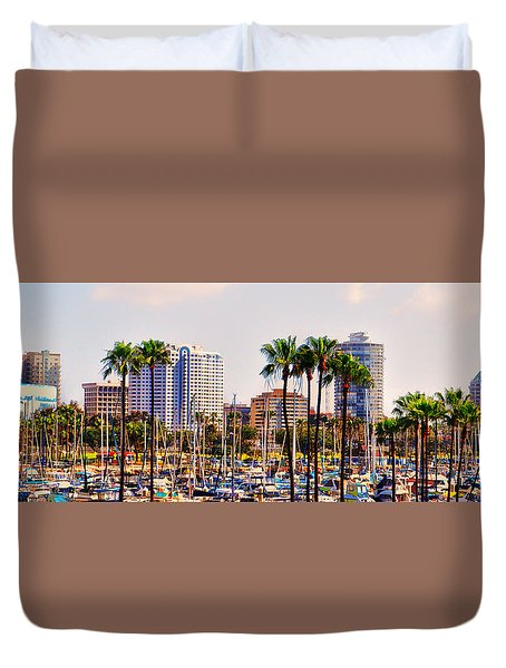 Parking And Palms In Long Beach Duvet Cover by Bob Winberry