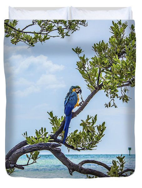 Duvet Cover featuring the photograph Parrot Above The Aqua Sea by Paula Porterfield-Izzo