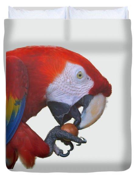 Parrot Having A Snack Duvet Cover