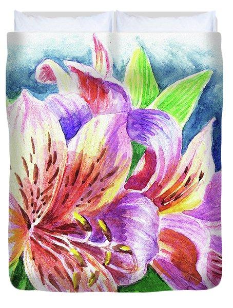 Parrot Peruvian Lilies Duvet Cover