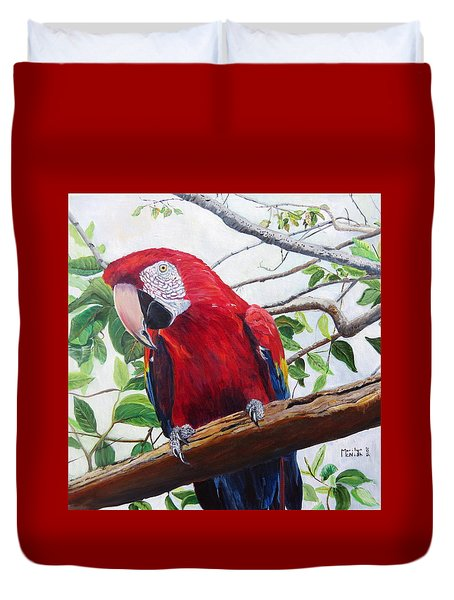Parrot Portrait Duvet Cover by Marilyn  McNish