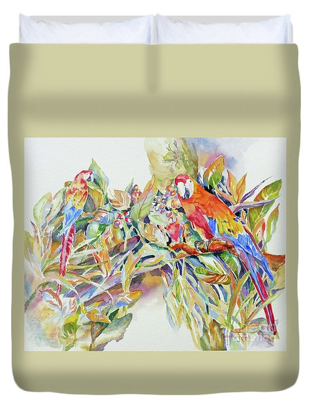 Parrots In Paradise Duvet Cover by Mary Haley-Rocks