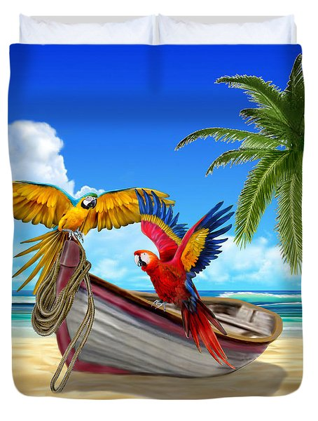 Parrots Of The Caribbean Duvet Cover