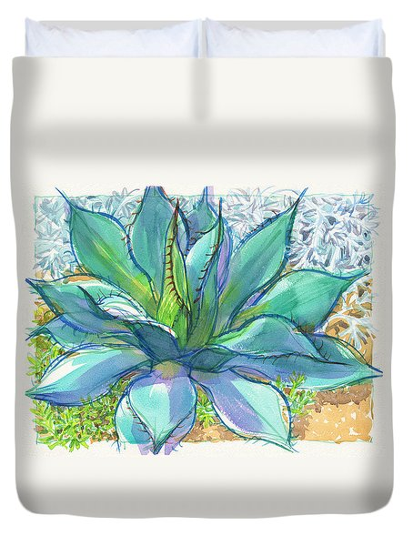Duvet Cover featuring the painting Parrys Agave by Judith Kunzle