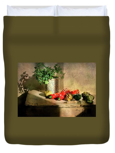 Duvet Cover featuring the photograph Parsley And Peppers by Diana Angstadt