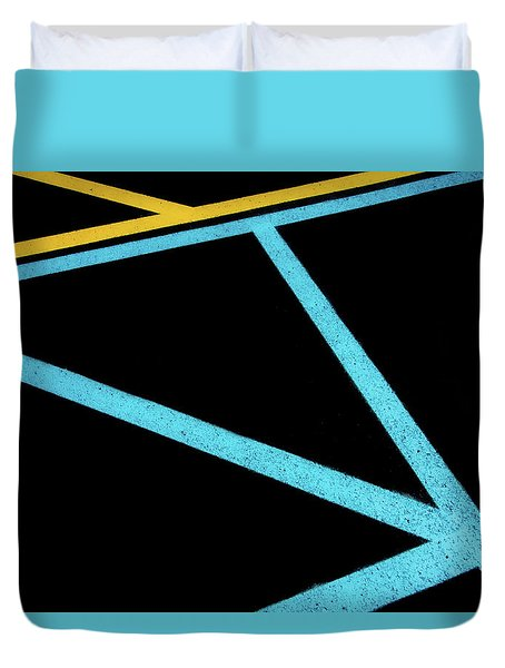 Duvet Cover featuring the photograph Partallels And Triangles In Traffic Lines Scene by Gary Slawsky