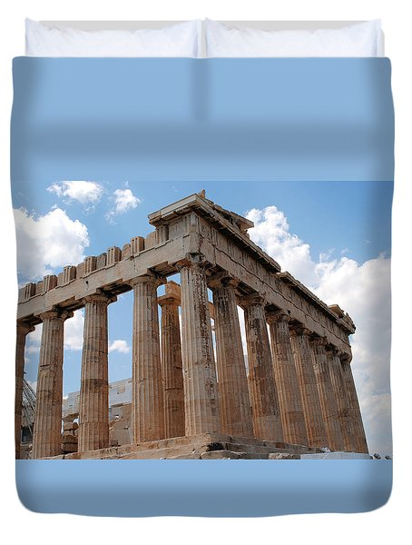 Duvet Cover featuring the photograph Parthenon Side View by Robert Moss