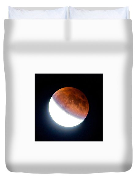 Partial Super Moon Lunar Eclipse Duvet Cover