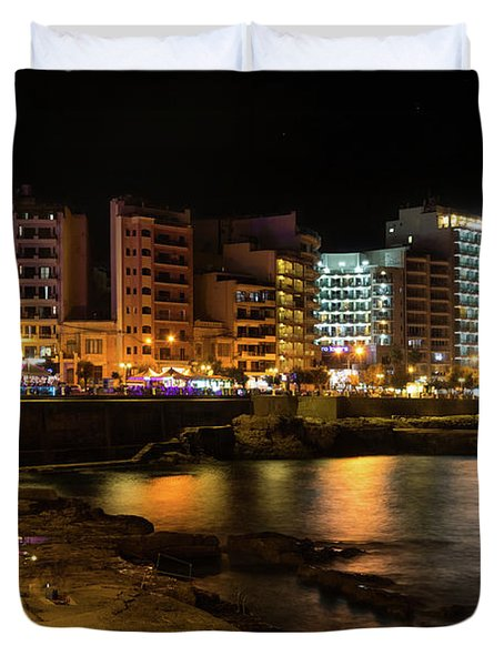 Particolored Midnight - Tower Road Waterfront In Sliema Malta Duvet Cover