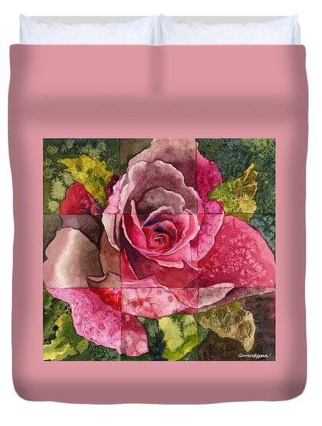 Partitioned Rose IIi Duvet Cover