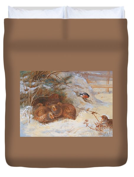 Partridge And A Bullfinch In The Snow  Duvet Cover by Archibald Thorburn