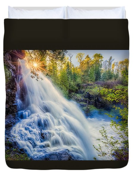 Duvet Cover featuring the photograph Partridge Falls In Late Afternoon by Rikk Flohr