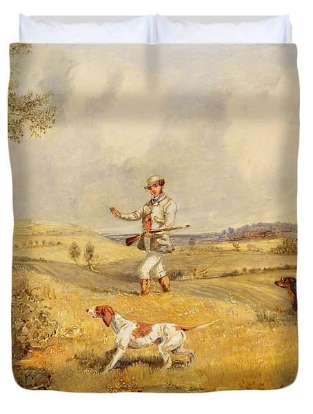 Partridge Shooting  Duvet Cover by Henry Thomas Alken