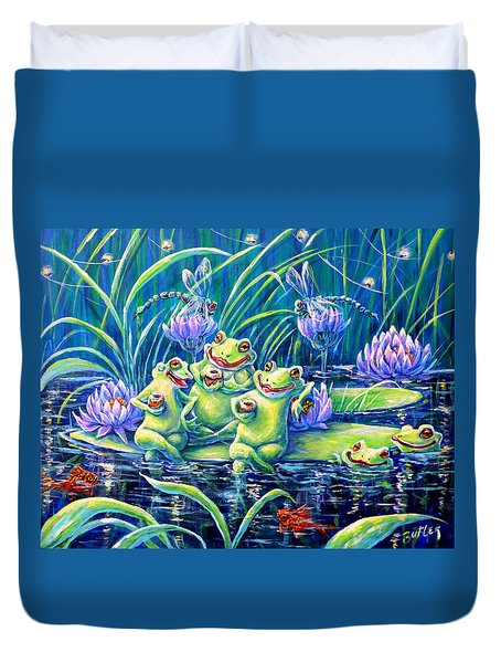 Party At The Pad Duvet Cover by Gail Butler