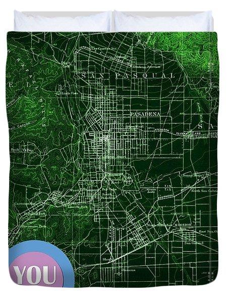 Pasadena California Old Map Blue Poster Duvet Cover