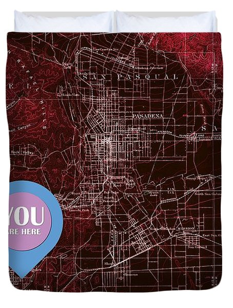 Pasadena California Red Old Map Duvet Cover