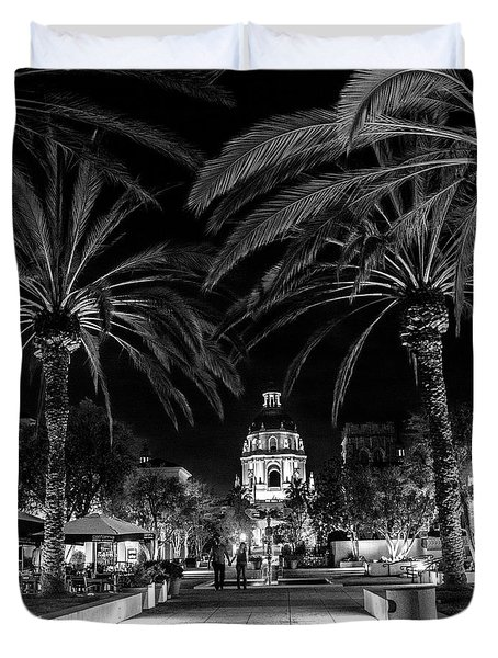 Duvet Cover featuring the photograph Pasadena City Hall After Dark In Black And White by Randall Nyhof