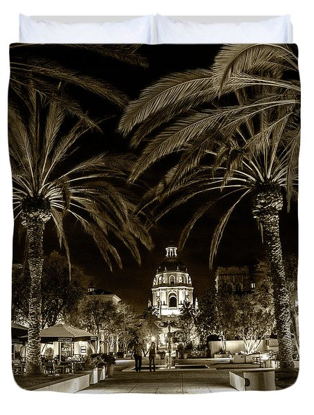 Duvet Cover featuring the photograph Pasadena City Hall After Dark In Sepia Tone by Randall Nyhof