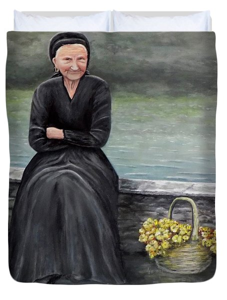 Duvet Cover featuring the painting Pasqualina Di Scanno by Judy Kirouac