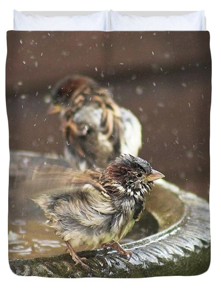 Pass The Towel Please: A House Sparrow Duvet Cover by John Edwards