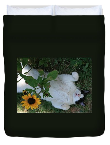 Duvet Cover featuring the photograph Passed Out Under The Daisies by Marna Edwards Flavell