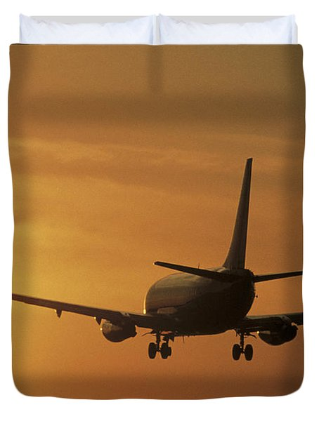Passenger Plane Taking Off Lax Airport Duvet Cover