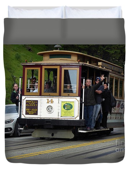 Passenger Waves From A Cable Car Duvet Cover