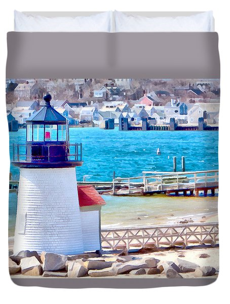 Duvet Cover featuring the photograph Passing Brandt Point Lighthouse by Jeff Folger