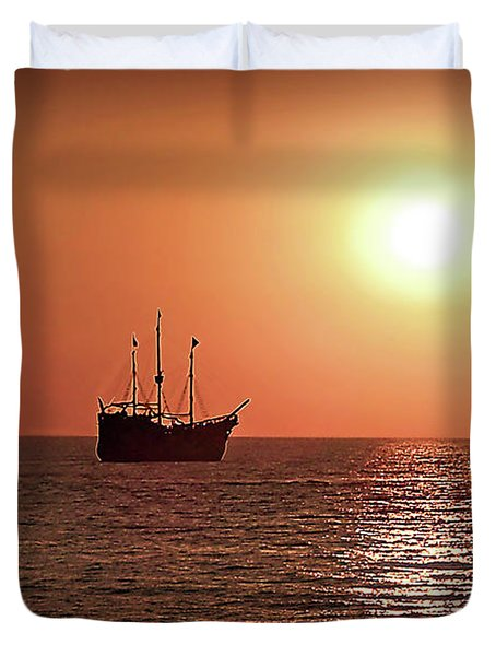 Duvet Cover featuring the photograph Passing By In Calm Waters by Joan  Minchak