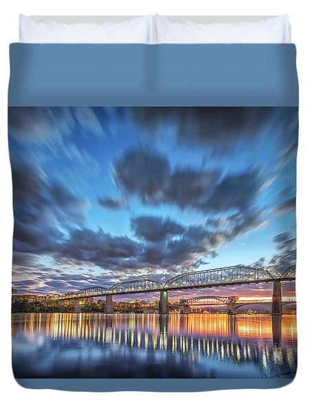 Passing Clouds Above Chattanooga Duvet Cover