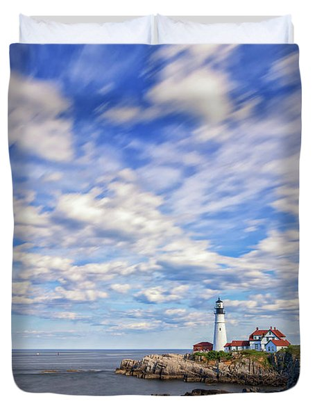 Passing Clouds At Portland Head Light Duvet Cover
