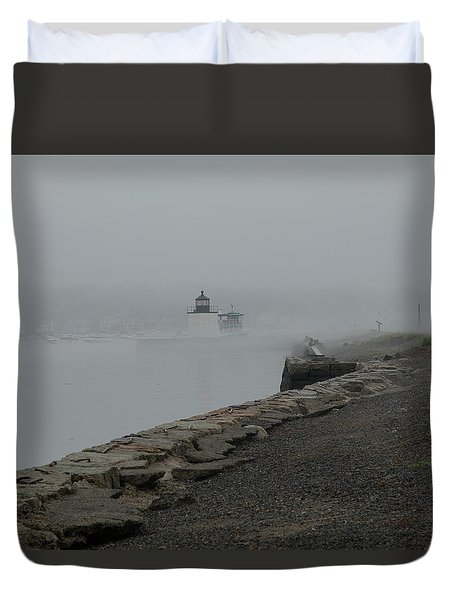 Duvet Cover featuring the photograph Passing In The Fog by Jeff Folger