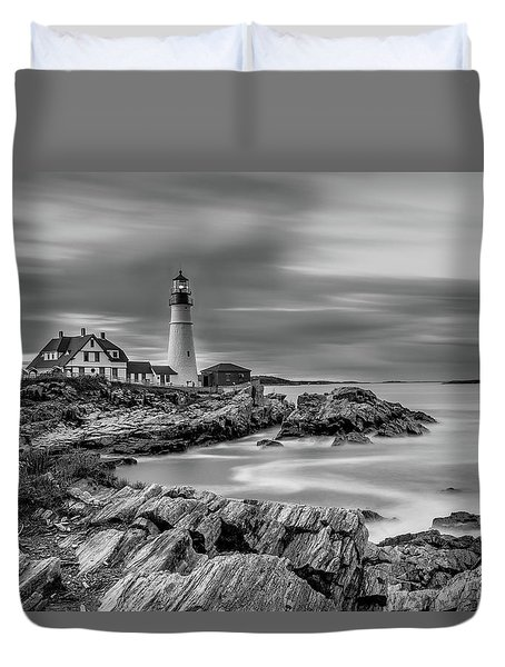 Passing Storm At Portland Head Light Duvet Cover