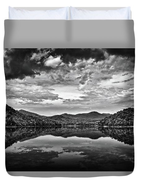 Passing Storm Over Lake Hiwassee In Black And White Duvet Cover