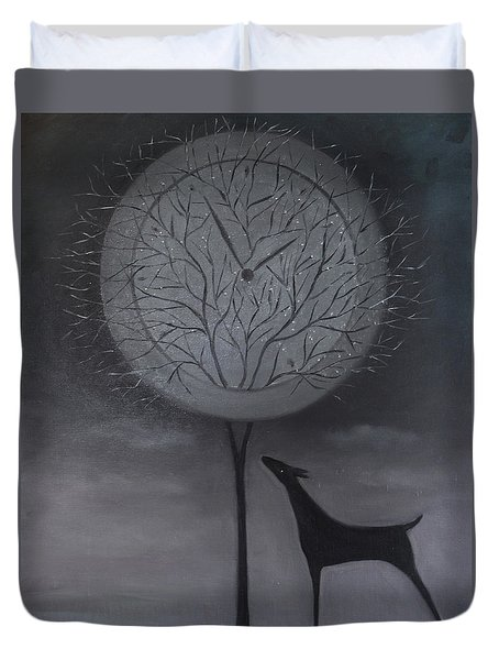 Duvet Cover featuring the painting Passing Time by Tone Aanderaa