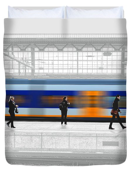 Passing Train Duvet Cover by Pedro L Gili