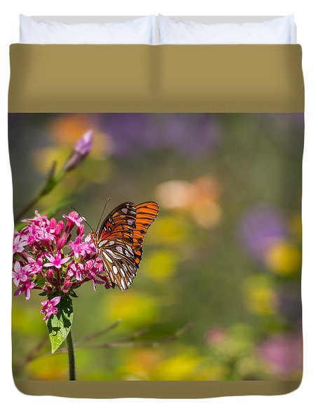 Duvet Cover featuring the photograph Passion Butterfly  by Julie Andel