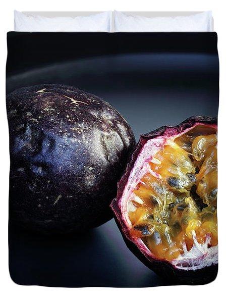 Passion Fruit On Black Plate Duvet Cover