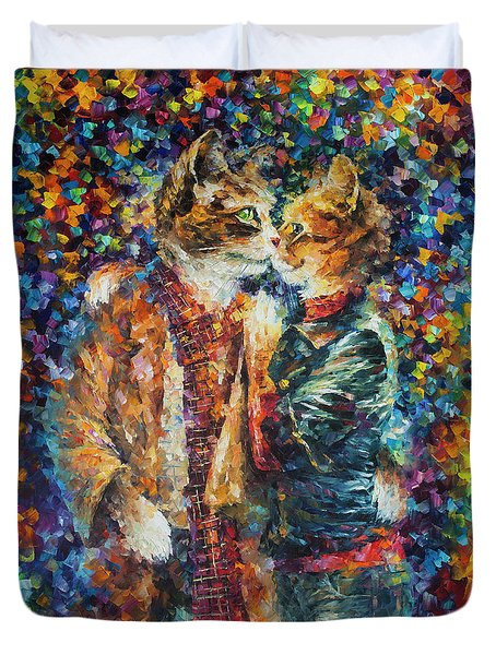 Passion Of The Cats  Duvet Cover by leonid Afremov