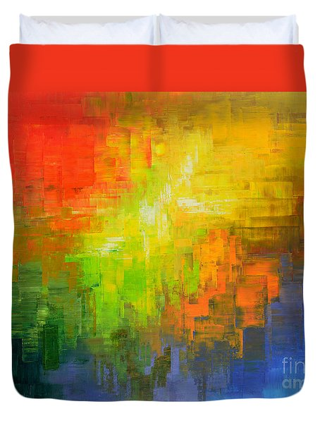 Duvet Cover featuring the painting Passionate Plumage by Tatiana Iliina