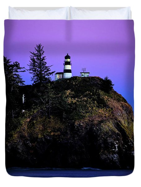 Duvet Cover featuring the photograph Past Sunset At Cape Disappointment by Mary Jo Allen