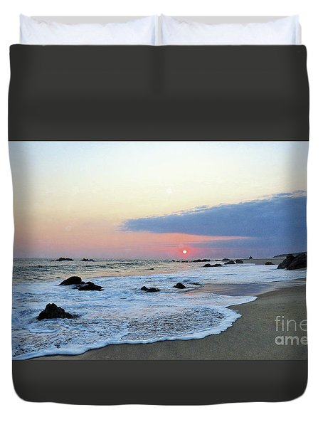 Duvet Cover featuring the photograph Pastel Blue by Victor K