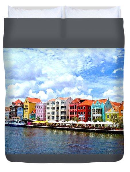 Pastel Building Coastline Of Caribbean Duvet Cover